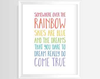 Somewhere over the rainbow skies are blue -Printable wall art-Nursery/Kids colorful quote–8x10 and 16x20 inches-JPG/PDF-Instant Download