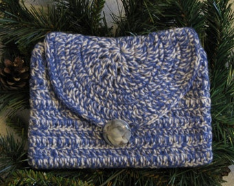 Blue and white wool case