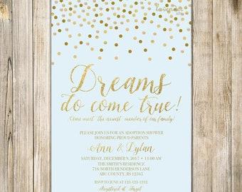 BLUE GOLD ADOPTION Shower Invitation, Dreams Do Come True, Baby Boy Adoption Celebration Invite, Confetti Parenthood Miracle Worth the Wait