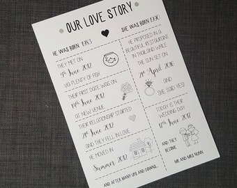 Wedding Sign, Our Love Story, Print, Love Timeline, Wedding Decor, The Monochrome Bow