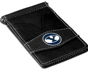 BYU Cougars Black Leather Wallet Card Holder