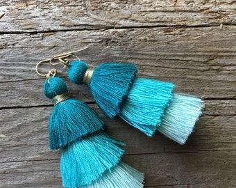 Aqua Blue Tiered Tassel Earrings