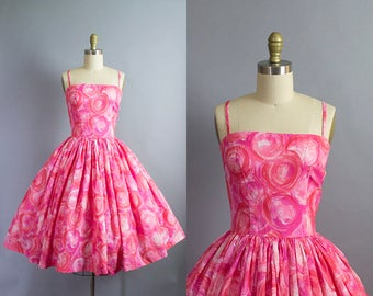 1950s pink sundress/ 50s rayon novlety print silky spaghetti strap dress/ medium