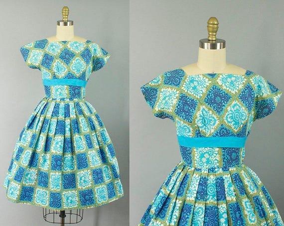 1950s novelty cotton sundress/ 50s floral blue dress/ extra small xs