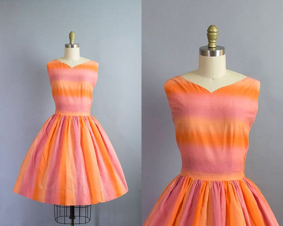 1950s striped cotton dress/ 50s sunset ombre novelty print dress w/ sash/ small