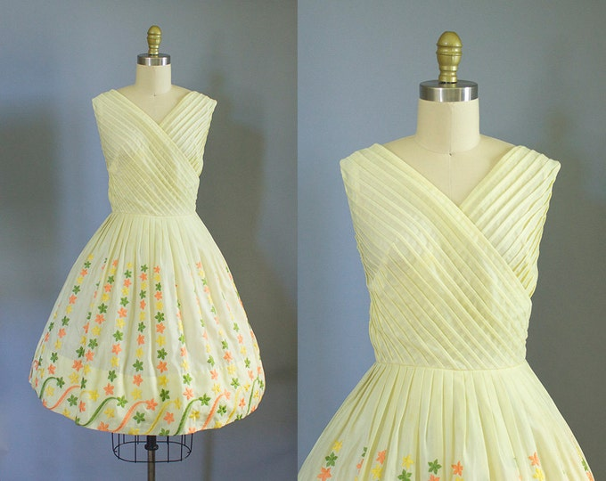1950s yellow cotton sundress/ 50s cross bodice floral dress/ small