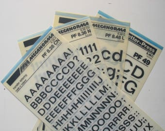 4 dry transfer  Mecanorma rub on sheets, bold letraset letter-press for crafting, scrapbooking, card making, journaling