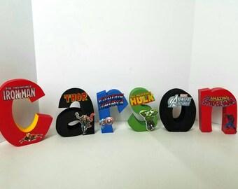 Avengers Wood Name Letters - Marvel Avengers - Super Hero - wood letters - wood name letters - avengers decor -  PRICE PER LETTER