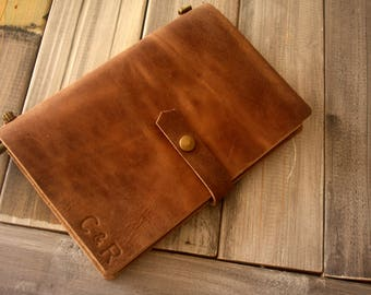 Personalized leather Journal - distressed leather journal notebook -corporate gifts, diary journal, refillable leather journal leather cover