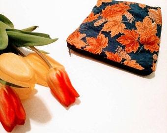 Canadiana maple leaf pinecone makeup bag
