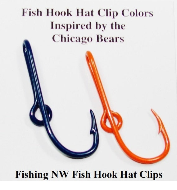 Chicago bears inspired colored fish hook hat clips by for Fishing hook hat clip