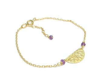 Bracelet gold Vermeil and thin, Amethyst stones