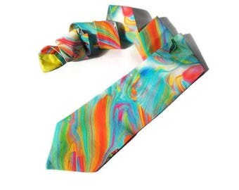 wedding watercolor necktie bright tie skinny men's tie standard tie for men rainbow ties for groomsmen bow tie for groom pocket square dfhye