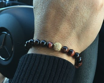 Red Tigers Eye Gold Shamballa Bracelet, Strength Bracelet, Protection Bracelet, Gifts for Him, Birthday Gift Idea, Men's Bracelet