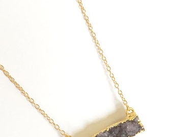 Minimalist Gray Purple Natural Agate Druzy Bar Necklace with 14K Gold Filled Chain Necklace, Dainty Necklace, Protection Stones