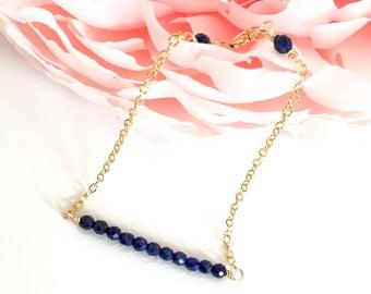 Dainty Lapis Lazuli Bar Bracelet