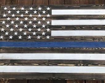 Rustic Thin Blue Line Wood Flag