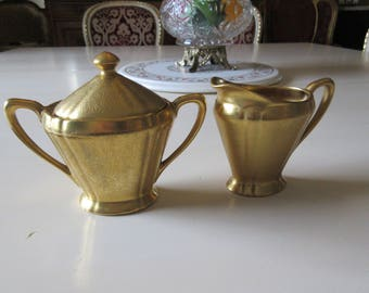 GOLD CREAM and SUGAR Bowl with Lid