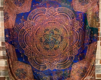 Sacred Geometry Tapestry, Atomic Circuit Design By Travis Garner For Enlighten Clothing Co.