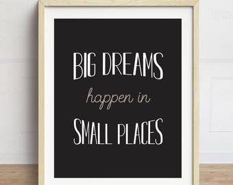 Funny Bathroom Art, Big Dreams Happen In Small Places, Bathroom Wall Art, Funny Bathroom Quote, Typography Print, Black and White Bathroom