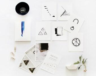 Architectural wall all, minimalist living, set of 6 prints, scandinavian modern style, geometric wall art, black and white print set, greece