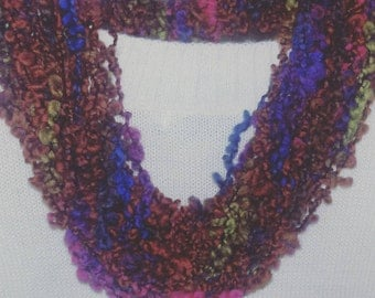 Wool neck warmer scarf handmade scarf necklace ring gift