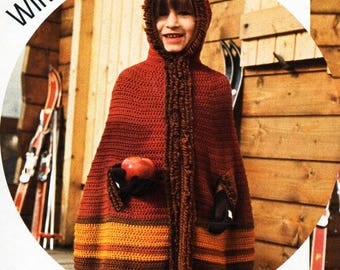 girls crochet cape pattern CROCHET PATTERN pdf childrens hooded cape loop stitch edge 4-5years DK light worsted 8ply pdf instant download