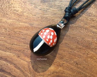 Red Magic Mushroom with White Spots Pendant 1 Piece with Black Waxed Linen Adjustable Cord!!!