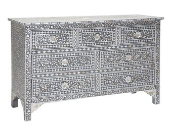 Mother of Pearl Furniture : Gray Dresser Chest of Drawers Floral Pattern  | Free Shipping