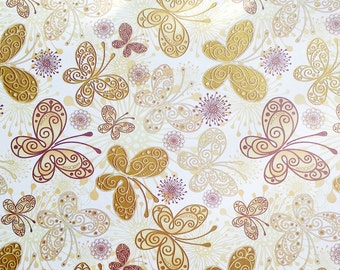Golden Butterflies - Wrapping Paper/Gold Embossed/Sheet Style/Cute/Pretty/Unique/Kawaii/Holiday/Fancy/Wedding/Gift Wrap/Fun/Elegant/Occasion