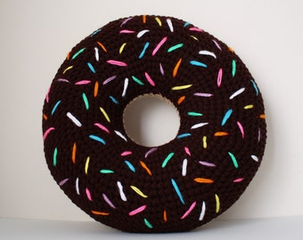 Crochet Donut Pillow, Foodie Pillow, Chocolate Donut Pillow, Donut Pillow, Doughnut Pillow