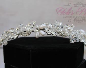Swarovski and Pearl Headband,  Tiara, Crystal Swarovski Headband, Tiara ,Wedding Tiara  , Wedding Headpiece, Bridal Tiara, Crystal Headband