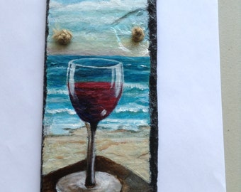 """Ocean view with red wine glass on 4"""" x 8' slate"""