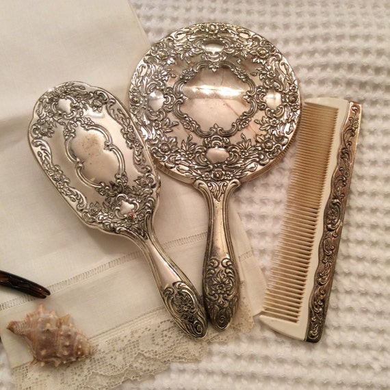 Silver Hand Mirror Towle Vanity Set Silver Plate By