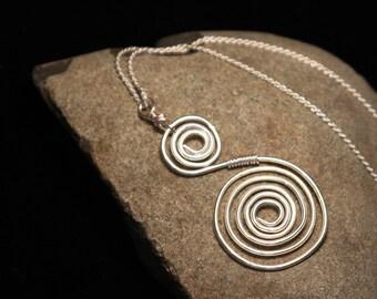 Silver Wire Swirl Pendant