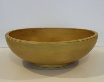 Large Yellow Wood Bowl, Decorative Wood Bowl, Decorative Painted Bowl, Gift for Her, Gift for Him