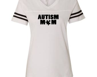 Autism Mom D2-B518 LAT - Women's Football V-Neck Fine Jersey Tee - 3537
