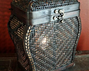 One-of-a-kind Upcycled Repurposed Wicker Home Decor Stash Trinket Box Basket Lamp Light