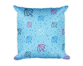 "Rainy Day Umbrella Pillow - 18"" x 18"" - Blue Pattern Pillow"
