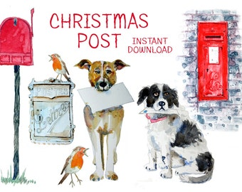 dog clipart, christmas card, mailbox, watercolor clip art - downloadable artwork for a Christmas card