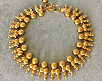 Unique ANNE KLEIN Signed STARBURST Modernist Link Brushed Gold Metal Cleopatra Collar Necklace Vintage Rare Designer Runway Couture Etruscan