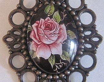 MADE IN FRANCE Retro vintage brooch pink rose flower romantic rockabilly pin up dita von teese wedding ceremony spring nature valentine