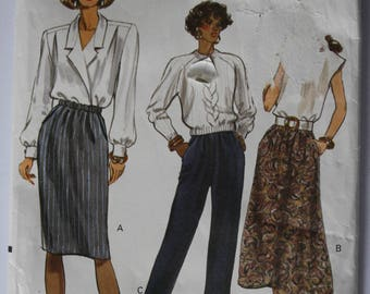 Women's VERY EASY Skirt, Pants Sewing Pattern, UNCUT Vogue 7677, Size 14-16-18, tapered, a line, elastic waist skirt and pants