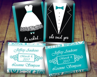 Wedding Candy Wrappers - Wedding Favour, Teal Favor, Kiss Sticker Wedding, Personalized Wedding, Candy Wrapper Wedding, Wedding Sticker