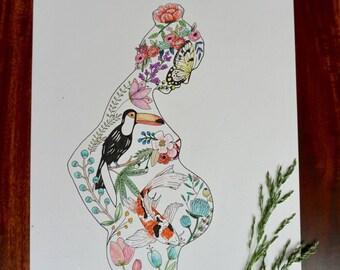 Pregancy Silhouette Flora & Fauna