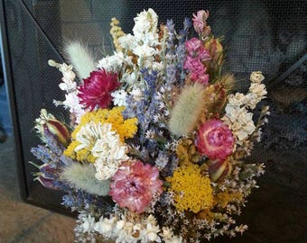 Dried Flower Bouquet, pink, yellow, purple, white, light green. Bridesmaid bouquet, wedding bouquet, lavender, strawflowers, yarrow, nigella