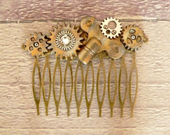 Steampunk Hair Comb, Cog Hair Comb, Neo Victorian Hair Comb, Steampunk Jewellery, Steampunk Jewelry, Dieselpunk Jewellery, Cog Jewellery