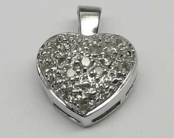 14Kt White Gold Pave Diamond Puffy Heart  Charm Pendant for Necklace