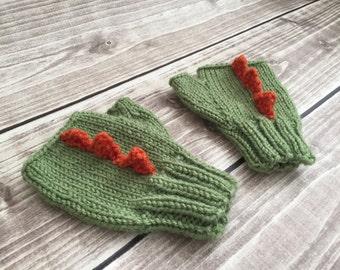 Dinosaur mittens, fingerless mittens, kids green mittens, fingerless gloves, dinosaur gloves, toddler mittens