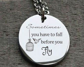Sometimes You Have to Fall Before You Fly Oval Personalized Engraved Necklace